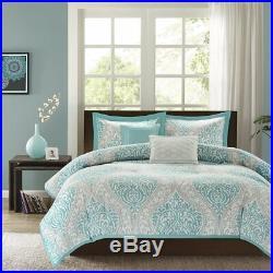 Comforter Bedding Set 5 Piece All Seasons Aqua Damask Pattern Full/Queen Size