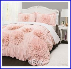 Comforter Set Ruffled Flowers Full/Queen Size, Super Soft Luxury Bedding Cover