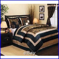 Comforter Sets Queen Size 7 Piece Bedding Heavy Black Print Shams Skirt + More