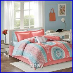 Coral & Aqua Boho Bohemian Girls Queen Comforter & Sheet Set (9 Pc Bed In A Bag)