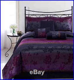 Cozy Beddings Liz Queen Size 7-Piece Multi Color Jacquard Comforter Set