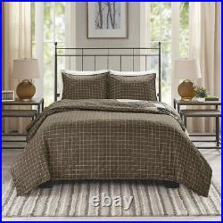 Cozy Modern Brown Beige Black Plaid Cabin Southwest Lodge Comforter Quilt Set