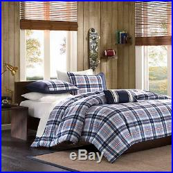 Cozy Navy Blue White Grey Red Plaid Stripe Boys Comforter Quilt Set Full, Twin