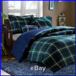 Cozy Plaid Blue Navy Green Sporty Boys Comforter Set Twin Twin XL Full Queen