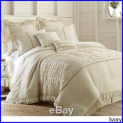 Cream Sand Farmhouse 8-Piece Comforter Set Beige Tan Shabby Bedding Queen King