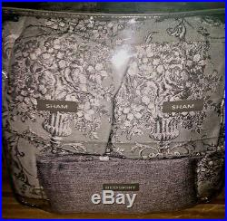 Croscill ALITA 4 Piece Queen Comforter Set with Bed Skirt & 2 Shams Spa Gray NEW