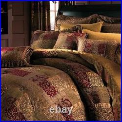 Croscill Galleria 4pc QUEEN Comforter Set Brown RED Shams Bed Skirt BRAND NEW