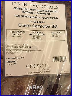 Croscill Newhill Queen Comforter Set Plum Beige Floral 4pc NIP