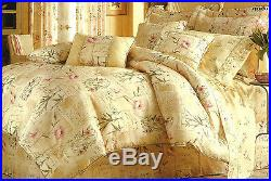 Croscill Verbena Yellow, Pink, Green Floral Script Queen 4pc Comforter Set