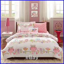 Cute Pink Purple White Blue Polka Dot Bed In A Bag Girls Comforter Set & Sheets
