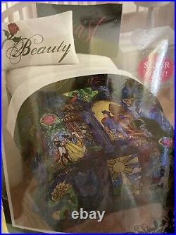 DISNEY Stained Glass Beauty And The Beast Full/Queen Comforter + Pillowcase Set