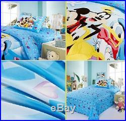 Disney Mickey Minnie Donald Duck Cotton Sheet Duvet Cover Bed Set Not Comforter