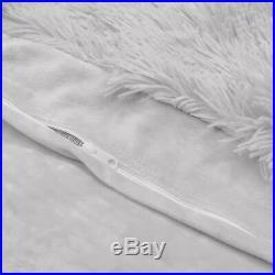 Duvet Comforter Cover Fuzzy Faux Fur Shaggy 3 Piece Soft Bedding Set Boho Grey