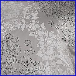 Elegant Jacquard Silver Grey Damask Comforter 4 pcs King Queen Bedding Set