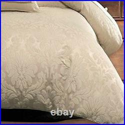 Elegant Silky Beige Jacquard Floral Down Alt Comforter 8 pcs Cal King Queen Set
