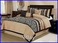 Elegant Taupe Gold Black Jacquard 7 pcs Cal King Queen Comforter Set