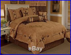 Embroidery Brown Texas Star Western Cowboy Luxury Comforter Suede 7 Pieces Set