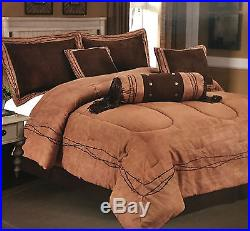 Embroidery Texas Barbed-Wire Cowboy Western Luxury Comforter Suede -7 Piece Set