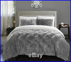 Enzo Pinch Pleated Ruffled & Pintuck Sherpa Lined Queen Comforter Set Grey 3 Pc