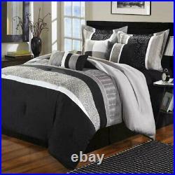 Euphoria Black / Gray Queen Comforter Bed In A Bag Set 8 Piece