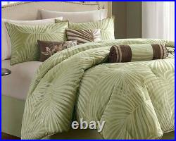 FREEPORT GREEN PALMS 7pc Queen COMFORTER SET BEACH TROPICAL BED IN BAG