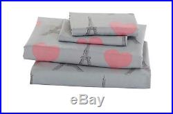 Fancy Linen 7pc Queen Size Comforter Set Eiffel Tower Paris Hearts Pink Grey New
