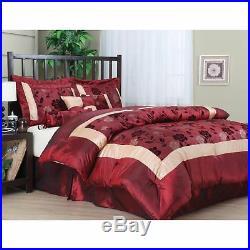 Flocking Luxury Comforter Set 7 PC Bedding Bed Skirt Bedroom Queen Size Red Gold