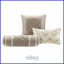 Full Queen Cal King Bed Ivory Cream Pintuck Pleat 7 pc Comforter Set Bedding