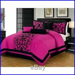 Full Queen Cal King Bed Pink Black Flocked Damask Faux Silk 7 pc Comforter Set