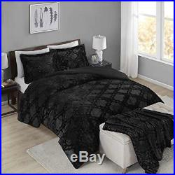 Full Queen Cal King Bed Solid Black Ebony Trellis Faux Fur 4 pc Comforter Set
