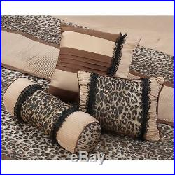 Full Queen Cal King Brown Beige Leopard Stripe Animal 7 pc Comforter Set Bedding