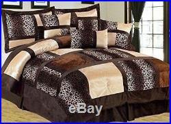 Full Queen Cal King Leopard Zebra Brown Tan Patchwork Faux Fur 7pc Comforter Set