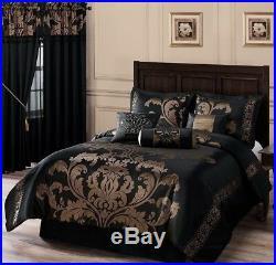 Full Queen Cal King Size Bed Black Gold Floral Damask 7 pc Comforter Set Bedding
