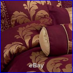 Full Queen Cal King Size Bed Burgundy Red Gold Floral Damask 7 pc Comforter Set