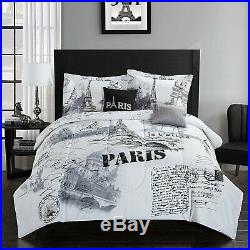 Full Queen King Bed Black White Paris French Eiffel Postcard 5 pc Comforter Set