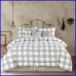 Full Queen King Bed Tan Beige White Buffalo Checked Plaid 7 pc Comforter Set