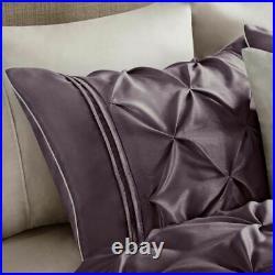 Full Queen King Cal King Plum Purple Pintuck Pleat 7 pc Comforter Set Bedding