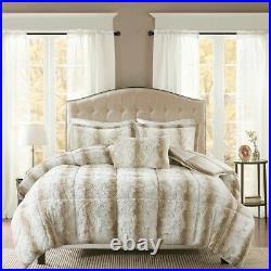 Full/Queen Zuri 4PC Faux Fur Comforter Set Neutral Brown Lux Microfur Blanket