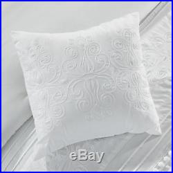 Grace 7-Piece White Floral Chenille Embroidered Pleated Striped Comforter Set