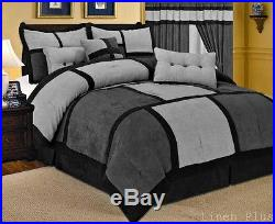 Gray Black Micro Suede Comforter Set Queen Size New 7 Piece Patchwork