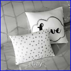 Gray Silver Metallic Geo Love 5 pc Comforter Set Twin XL Full Queen Cal King Bed
