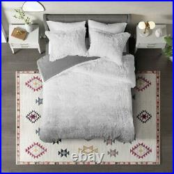 Grey Ombre Soft Faux Fur Comforter Set Ultra Plush Gray Shaggy Bear Hug