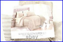 Hallmart Collectibles 14-Piece QUEEN Comforter Set Hexan MOCHA/GOLD D07067