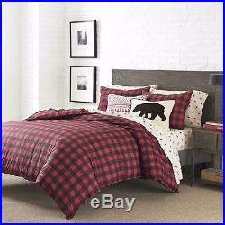 Holiday Red Black 100% Cotton Weave Plaid Comforter King Queen Twin Bedding Set