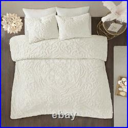 IVORY CHENILLE VINTAGE PLUSH COTTON 3pc COMFORTER SET Queen, King or Cal King