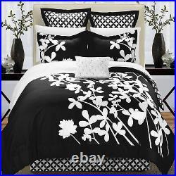 Iris Black & White Queen 7 Piece Comforter Bed In A Bag Set