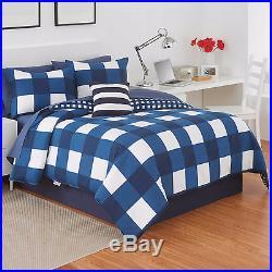 Izod 4 Pc Plaid Reversible Comforter Set Dorm Room Navy Blue White New