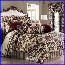 J. QUEEN Catherine KING COMFORTER SET 4pc NWT Victorian Floral BURGUNDY GREEN