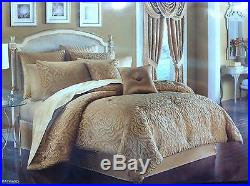 J Queen New York Hayward 4 Pc Queen Comforter Shams Bedskirt Set Gold Stunning