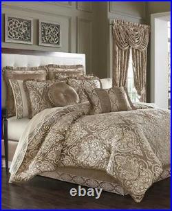 J QUEEN Stafford 4PC Queen Comforter Shams Bedskirt Set New Damask Mocha Honey